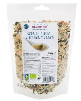 Pasta integral con algas macarrones bio 250gr.