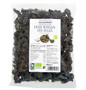 Pasta integral con algas macarrones tricolor bio 250gr.