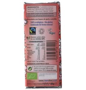 Chocolate ecológico crudivegano con Bayas de Goji, Rawr (60g)  de RAWR