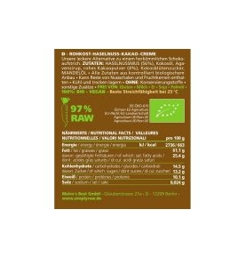 Crema crudivegana Avellana y Cacao Bio, Simply Raw (170g)  de Simply Raw