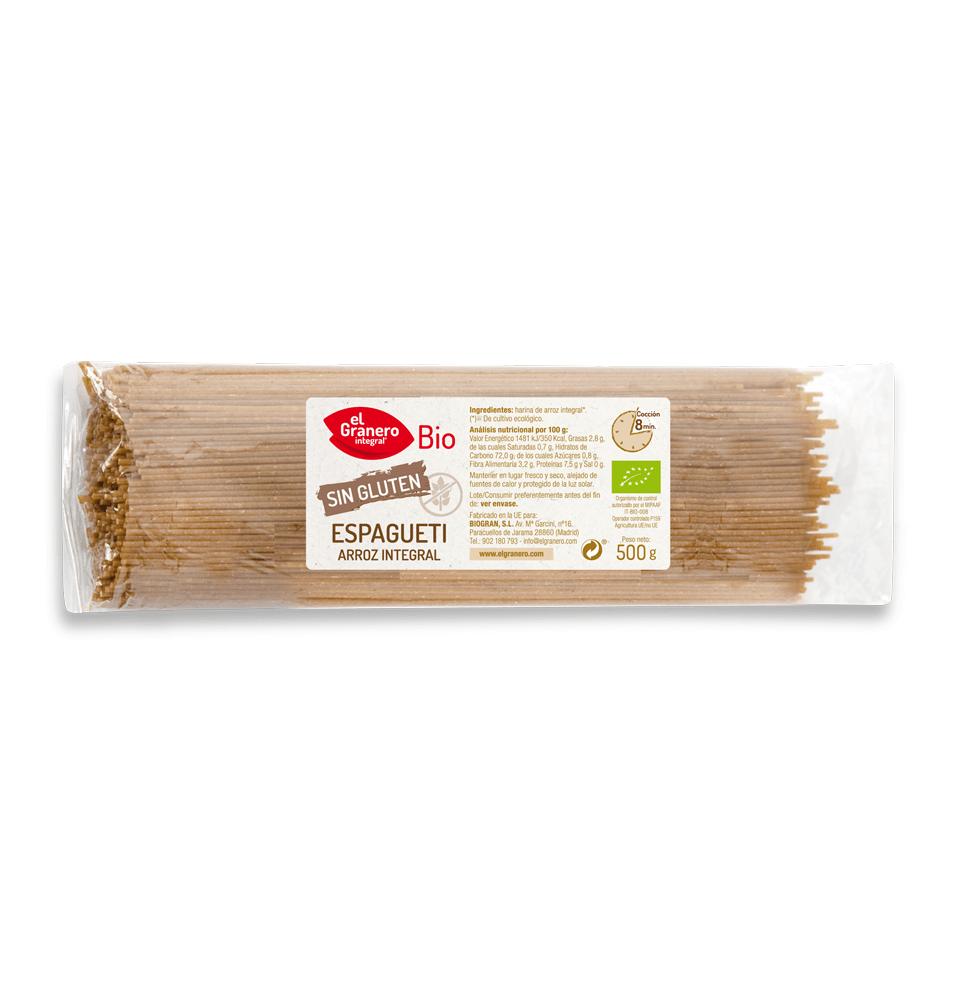 Espaguetis de arroz integral sin gluten Bio, El granero (500g)SanoBio