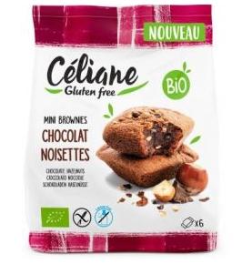 Brownies de chocolate y avellanas sin gluten Bio, Celiane (170g)