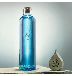 Botella de vidrio azul reciclado, Om Water Gratitude (1.2l)  de Omwater Gratitude