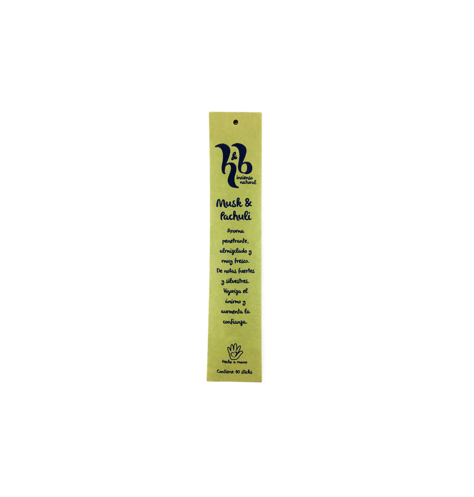 Incienso natural de Musk & Pachuli, H&B Incense (20g)  de H&B Incense