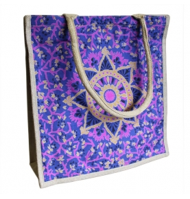 Bolso de Compras Grande de Yute Alpana Azul (40x40cm)