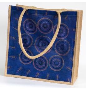 Bolso de Compras Grande de Yute Alpana Azul (40x40cm)  de