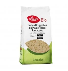 Copos crujientes de maiz y trigo sarraceno bio, El Granero Integral (350g)  de El Granero Integral