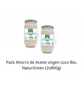 Pack Ahorro de Aceite virgen coco Bio, NaturGreen (2x800g)  de NaturGreen