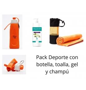 Pack Deporte con botella, toalla, gel y champú  de IRISANA S.A