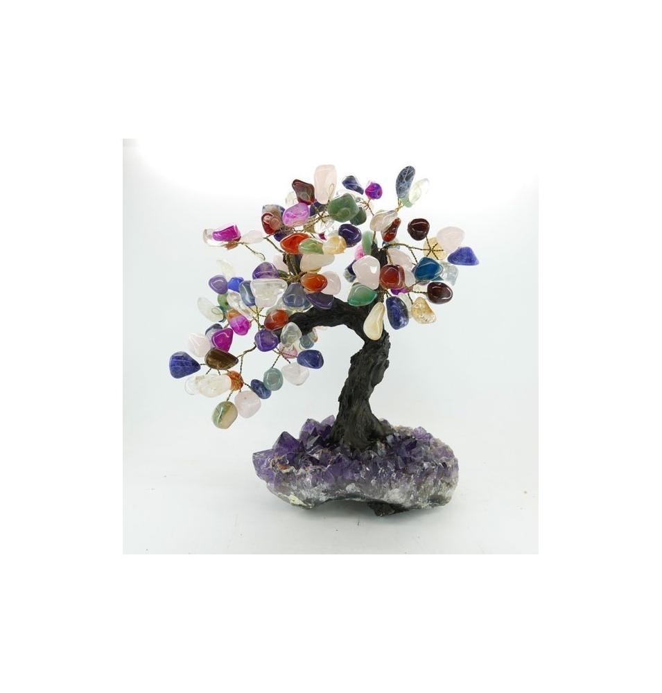 Árbol de Mix Minerales Mediano con Base de Drusa Amatista  de