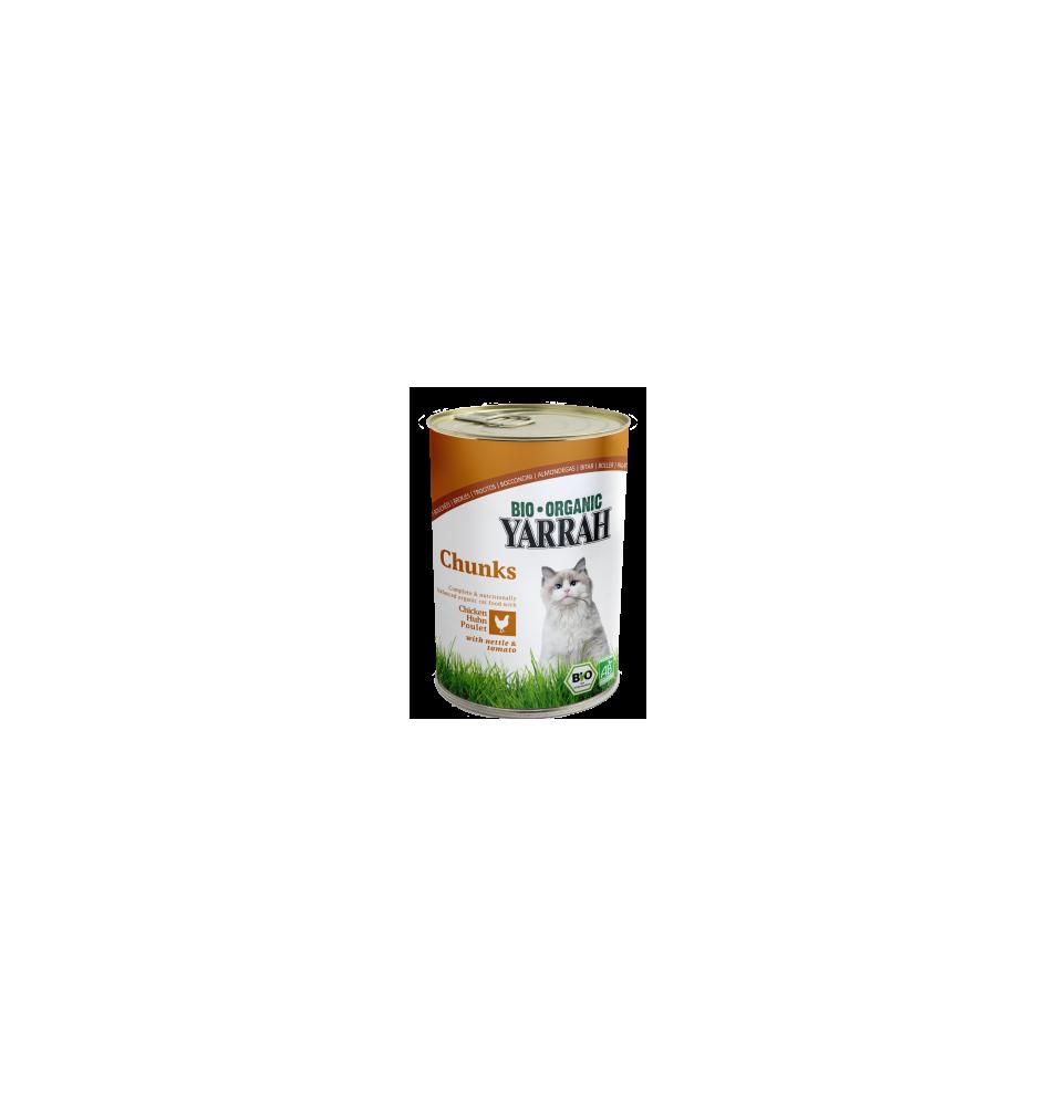 Trocitos de pollo en lata bio para gatos, Yarrah (400g)  de Yarrah
