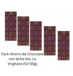 Pack Ahorro de Chocolate con leche bio, La Virgitana (5x100g)  de Chocolates La Virgitana - Sabor Andaluz