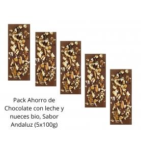 Pack Ahorro de Chocolate con leche y nueces bio, Sabor Andaluz (5x100g)  de Chocolates La Virgitana - Sabor Andaluz
