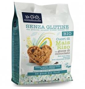 Galletas Corazones Maíz Arroz y Gotas Chocolate Sin Gluten Bio, Sottolestelle(250g)  de Sottolestelle