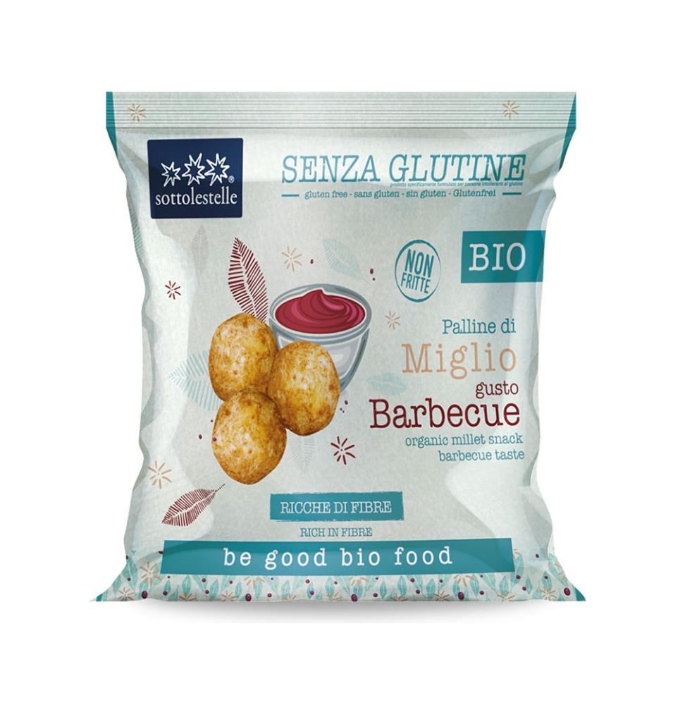 Bolitas de Mijo Sabor Barbacoa Sin Gluten Bio, Sottolestelle (75g)  de Sottolestelle