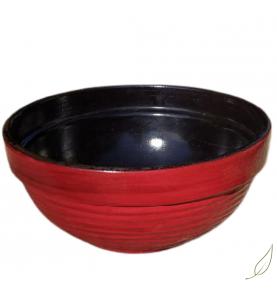 Maceta terrina ondas barro decorado roja, 26cm  de
