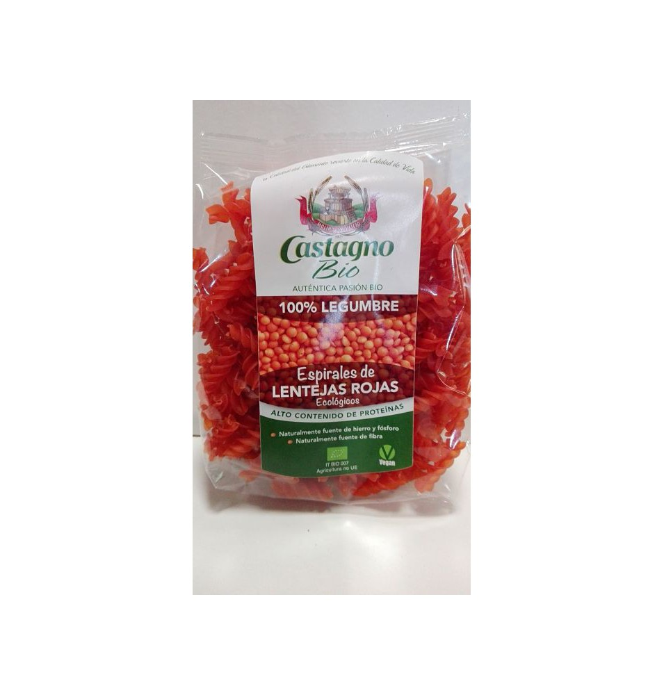 Espirales lenteja roja Bio, Castagno (250g)  de Castagno Bruno