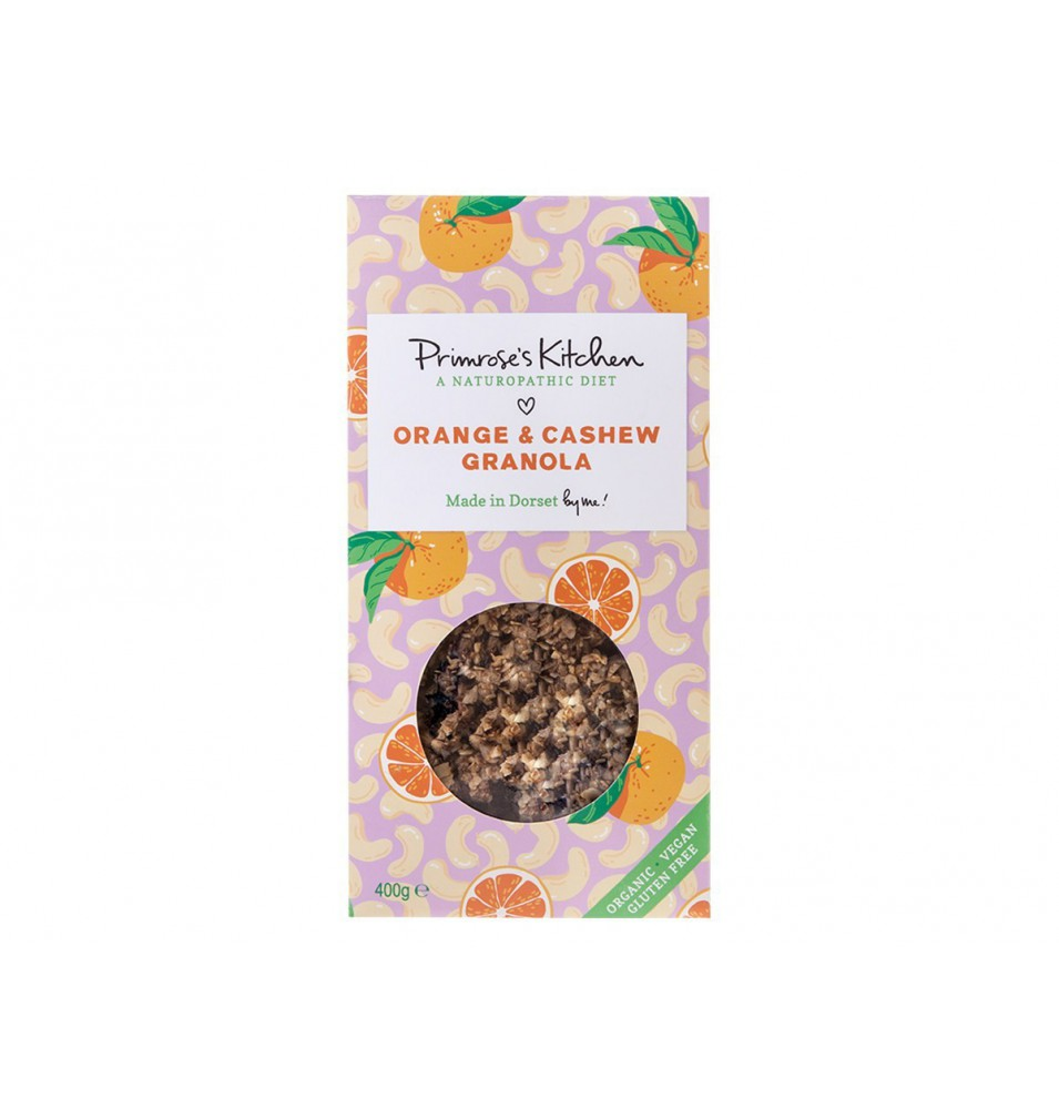 Granola Bio-Raw sin gluten Anacardos y Naranja, Primrose`s Kitchen (300 g)  de Primrose´s Kitchen