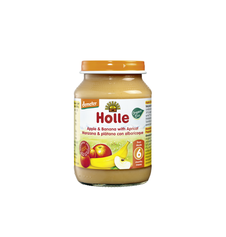 Potito manzana, plátano, albaricoque bio, Holle (190 g)  de Holle