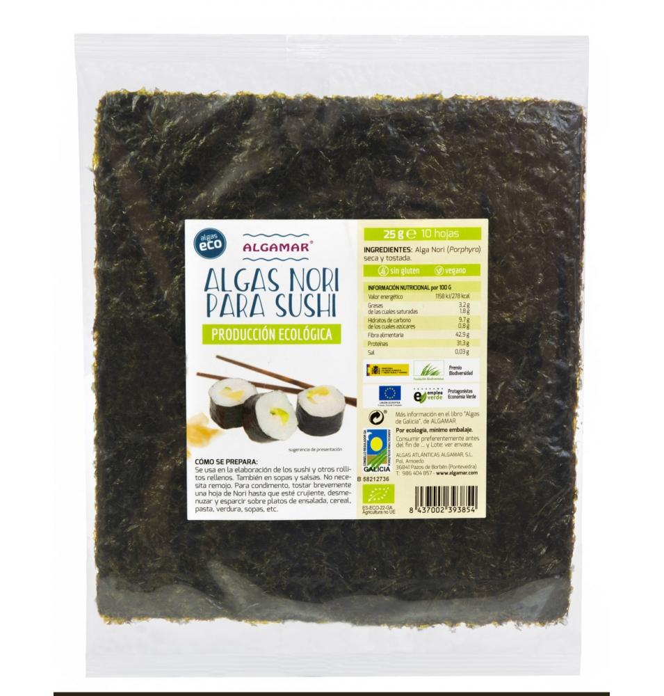 Alga Nori para Sushi Bio, Algamar (25g)  de Algamar