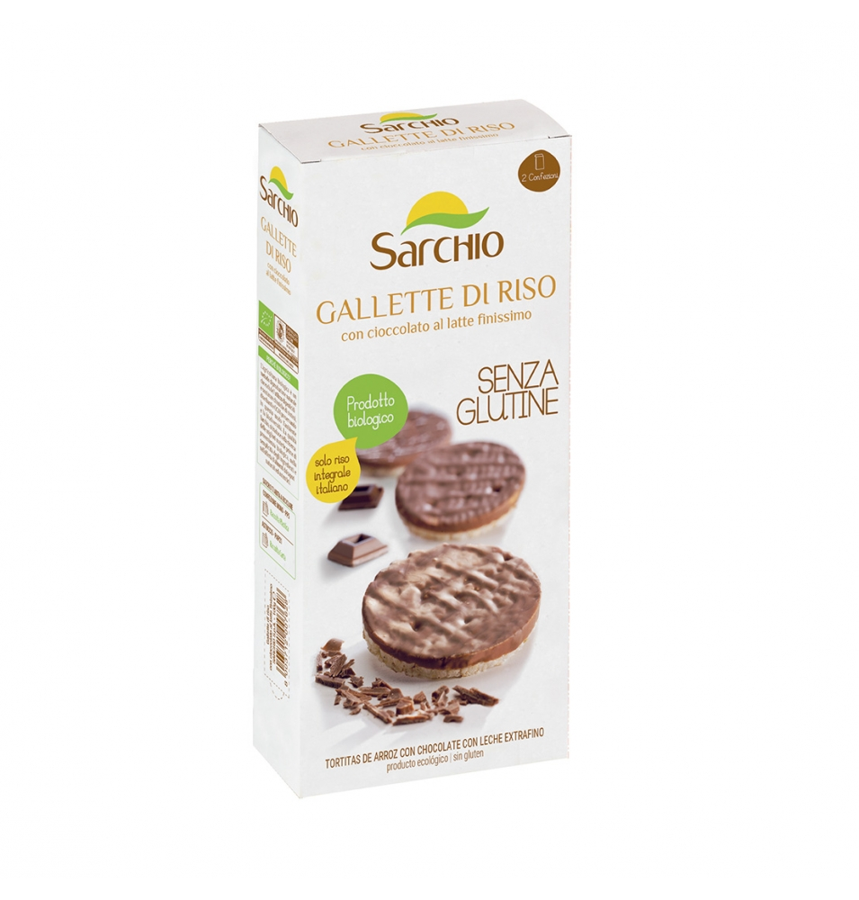 Tortita de arroz con chocolate con leche Bio, Sarchio (100g)  de Sarchio
