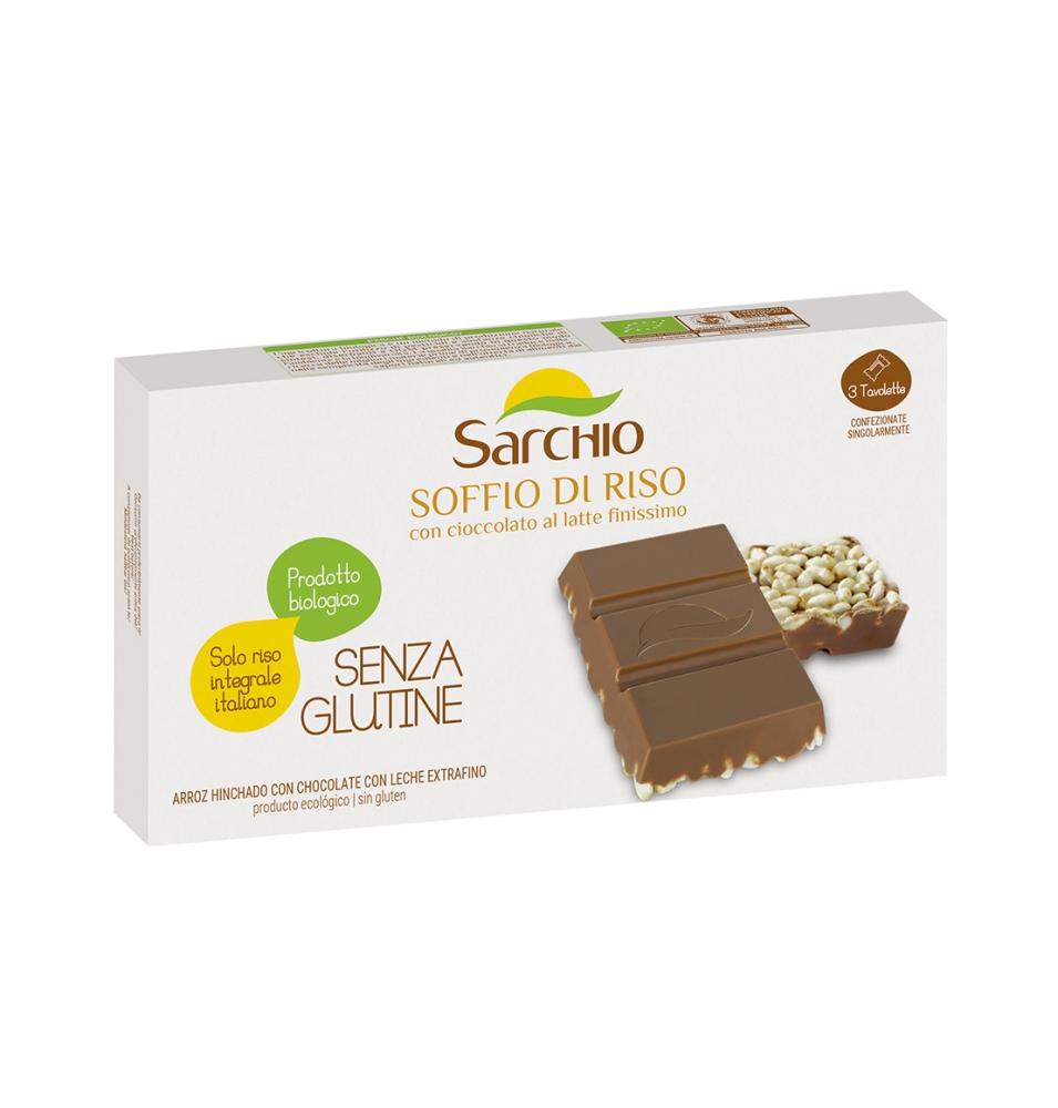 Barrita arroz hinchado con chocolate con leche Bio Sarchio (75g)  de Sarchio